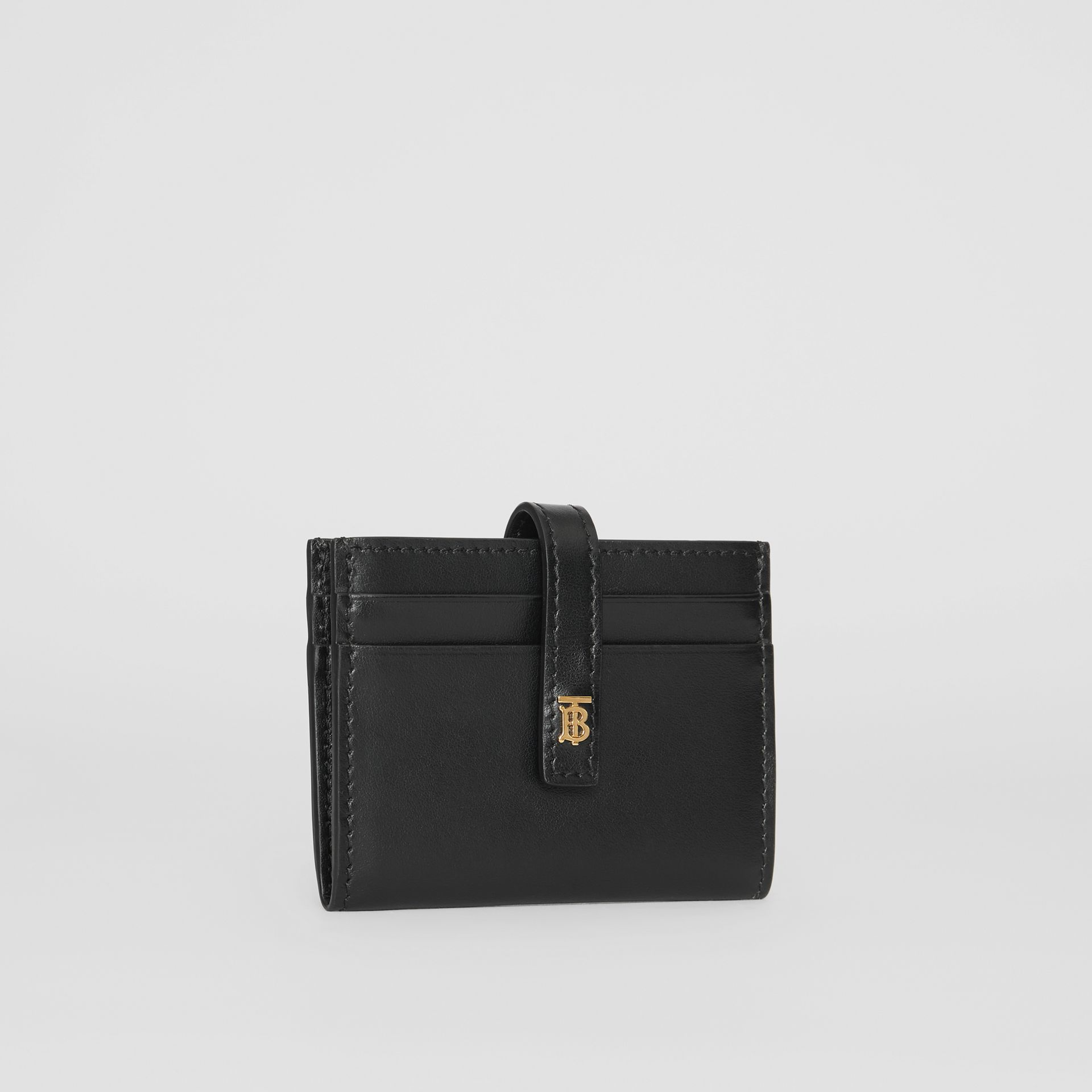Monogram Motif Leather Folding Card Case in Black - Women | Burberry - gallery image 3