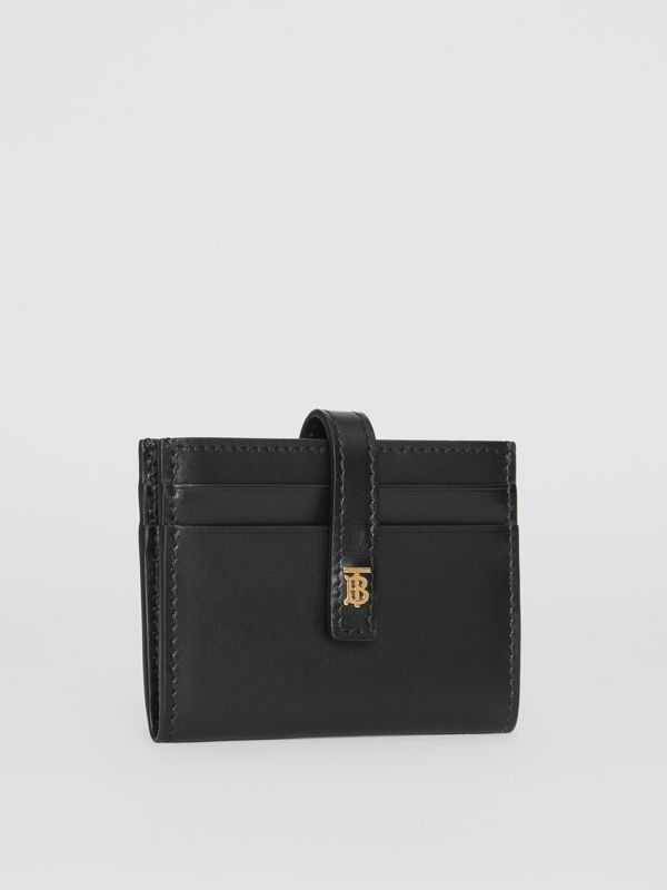 Monogram Motif Leather Folding Card Case in Black - Women | Burberry - cell image 3