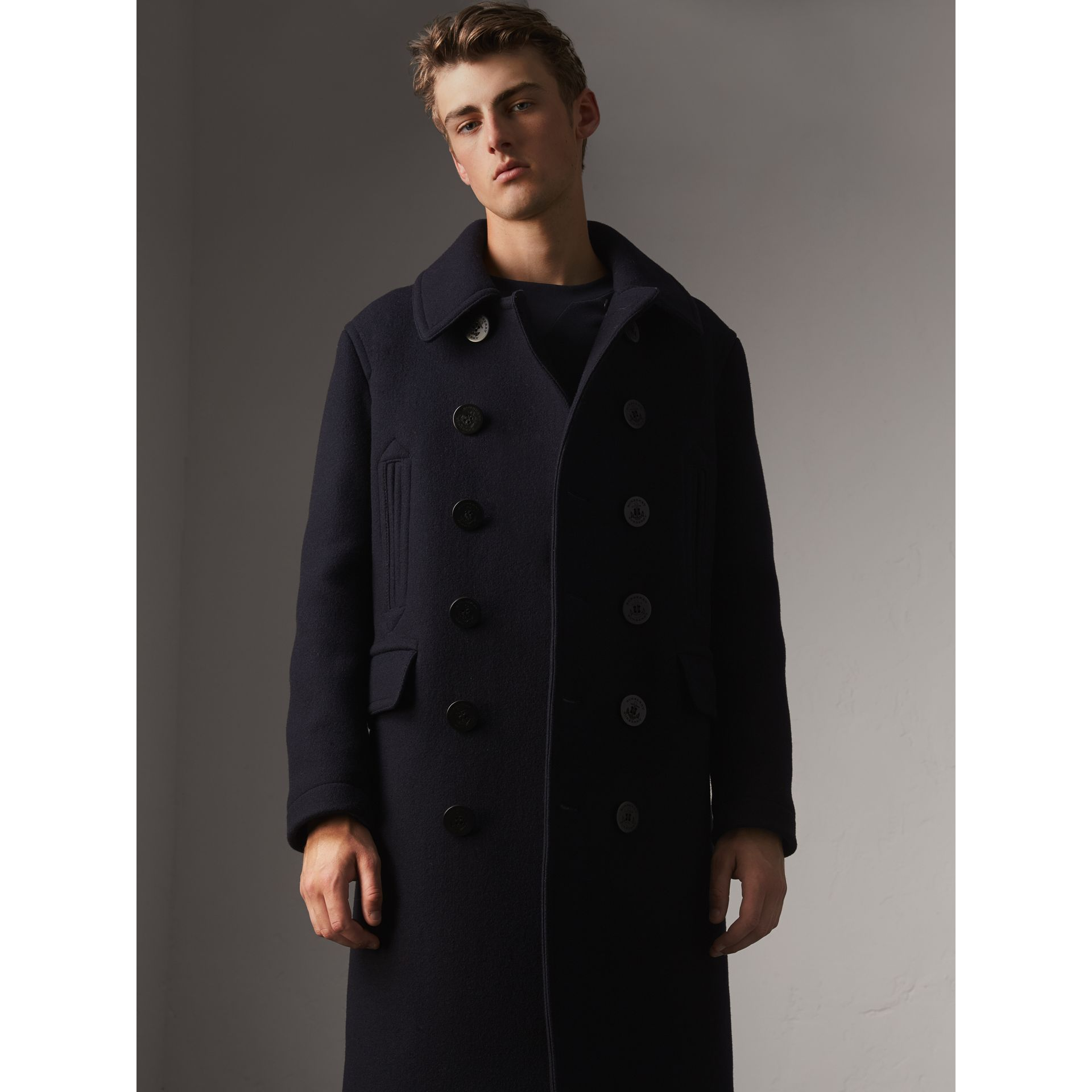 Wool Blend Double-breasted Coat in Navy - Men | Burberry Australia - gallery image 5