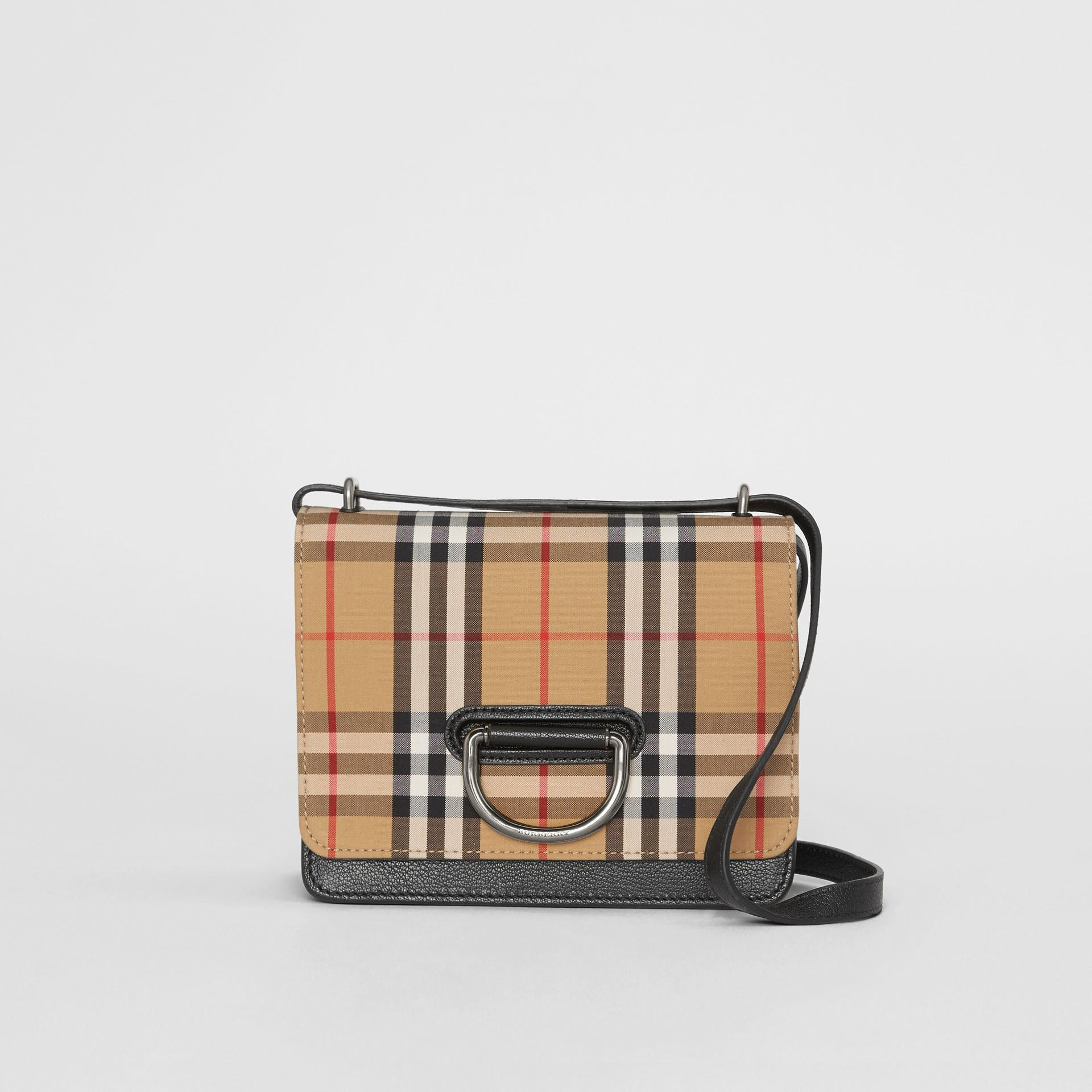 The Small Vintage Check and Leather D-ring Bag in Black/antique Yellow - Women | Burberry Canada - gallery image 0