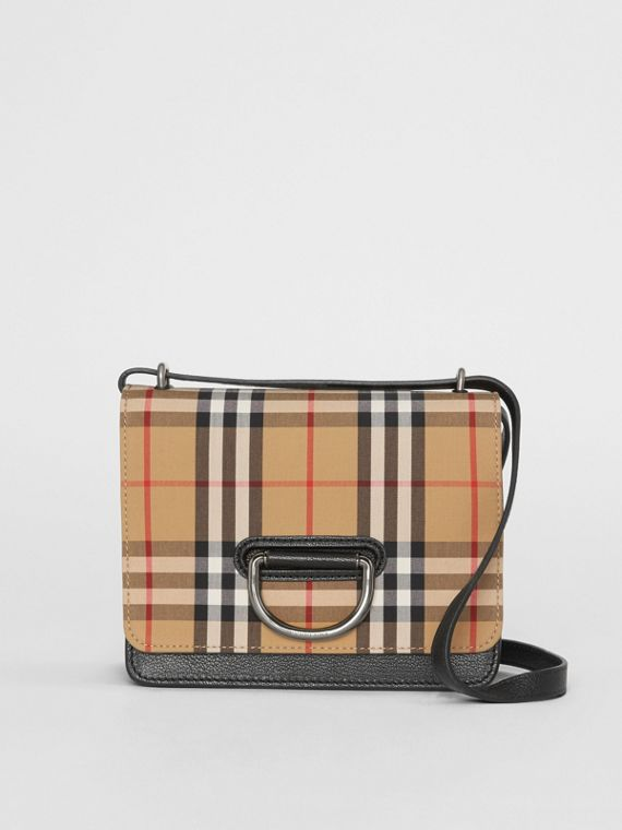 Borsa The D-ring piccola in pelle con motivo Vintage check (Nero/giallo Antico)
