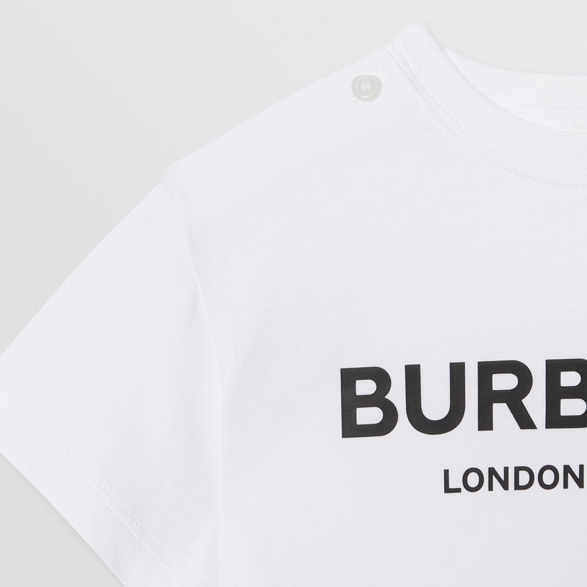 Logo Print Cotton T-shirt in White - Children | Burberry United States - gallery image 4