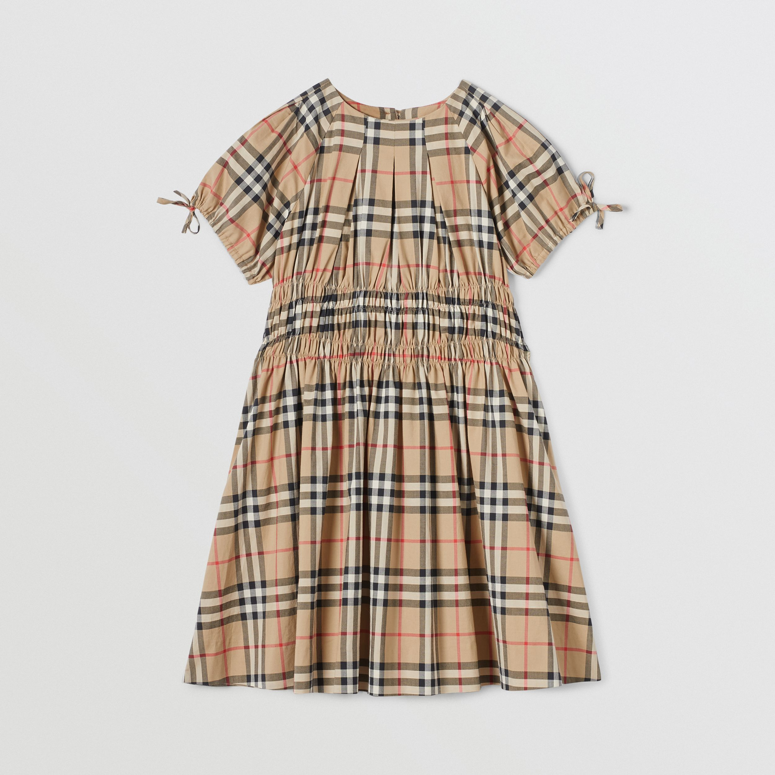 Ruched Panel Vintage Check Cotton Dress in Archive Beige | Burberry - 1