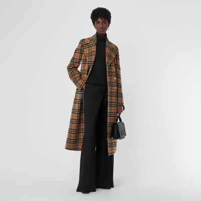 Vintage Check Alpaca Wool Tailored Coat