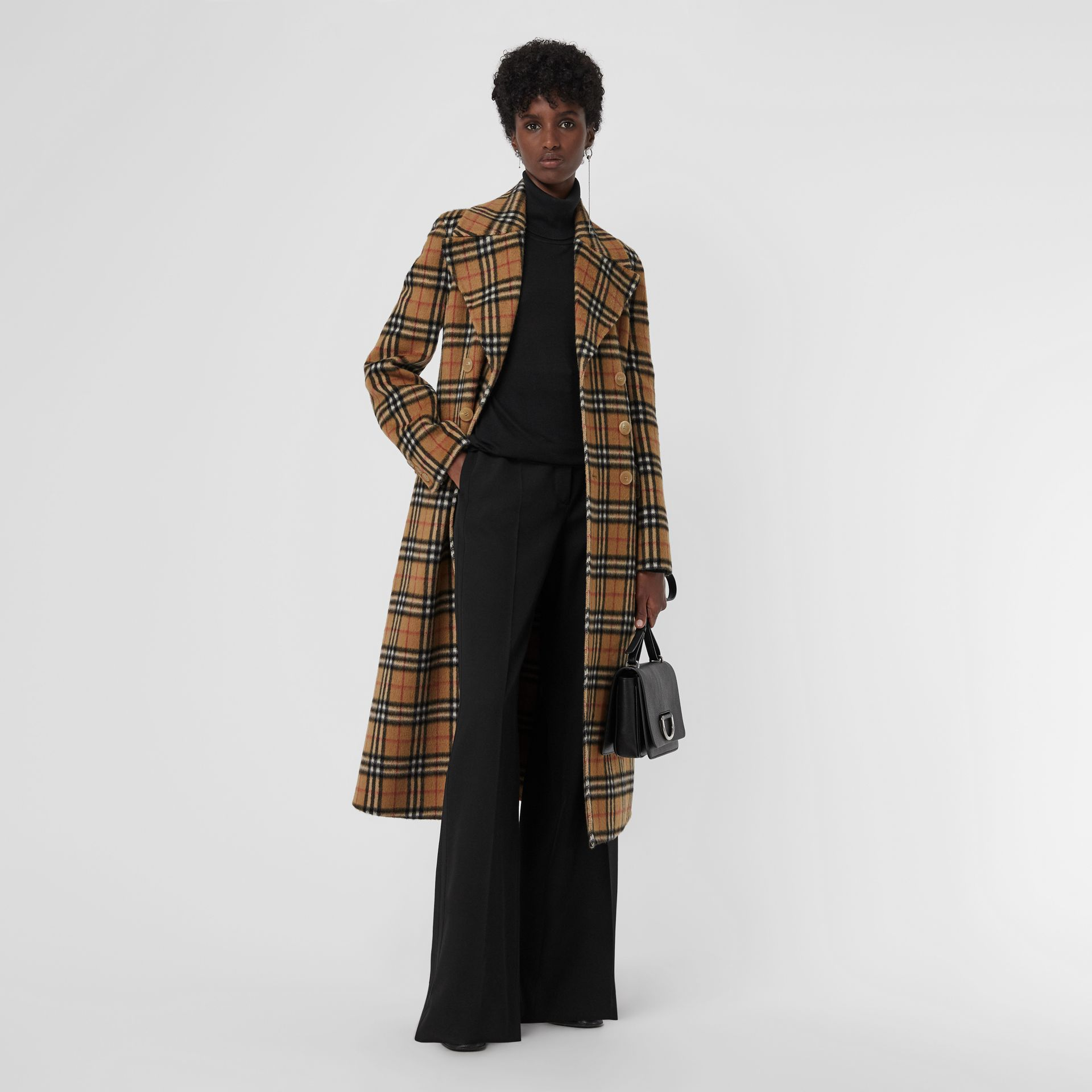 Vintage Check Alpaca Wool Tailored Coat in Antique Yellow - Women | Burberry Singapore - gallery image 0