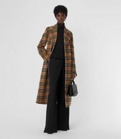 Manteau ajusté en alpaga à motif Vintage check (Jaune Antique) 9039961f80df