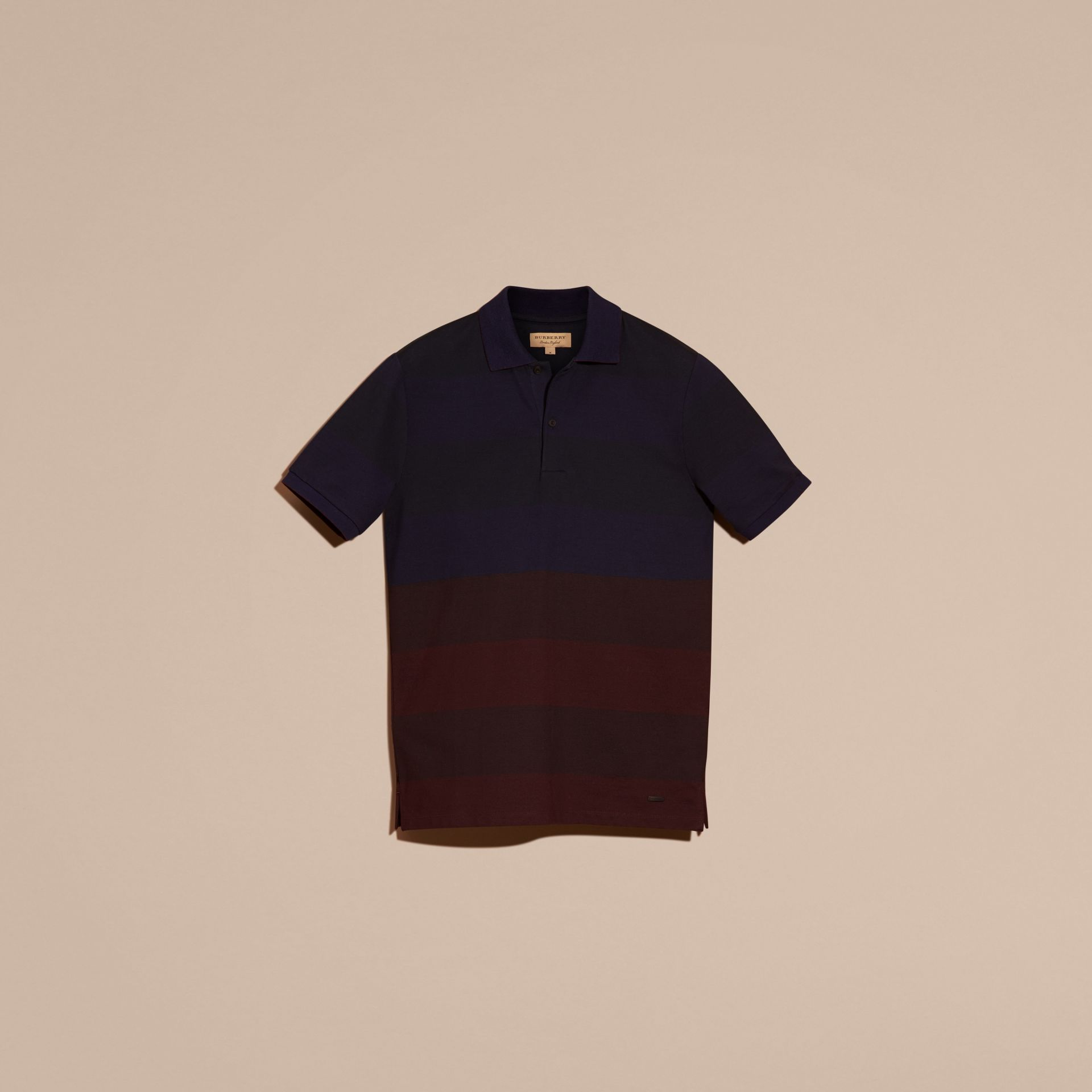 Burgundy red Striped Stretch Cotton Piqué Polo Shirt Burgundy Red - gallery image 4