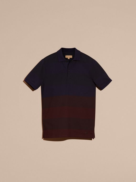 Burgundy red Striped Stretch Cotton Piqué Polo Shirt Burgundy Red - cell image 3