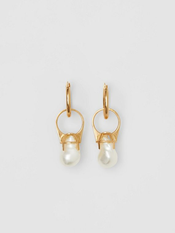 Faux Pearl Ring Detail Gold-plated Hoop Earrings in Light Gold/white