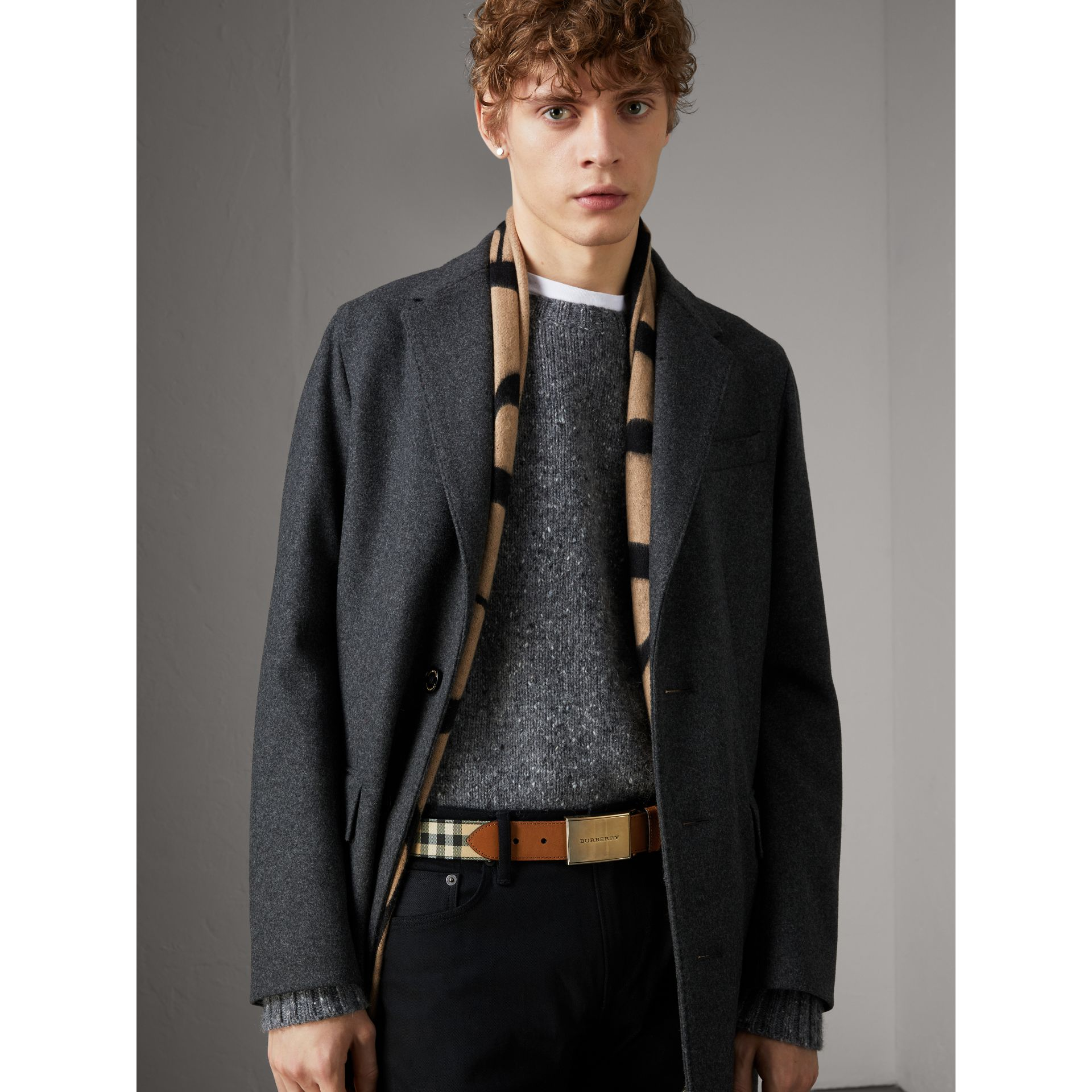 Horseferry Check and Leather Belt in Tan - Men | Burberry United Kingdom - gallery image 2