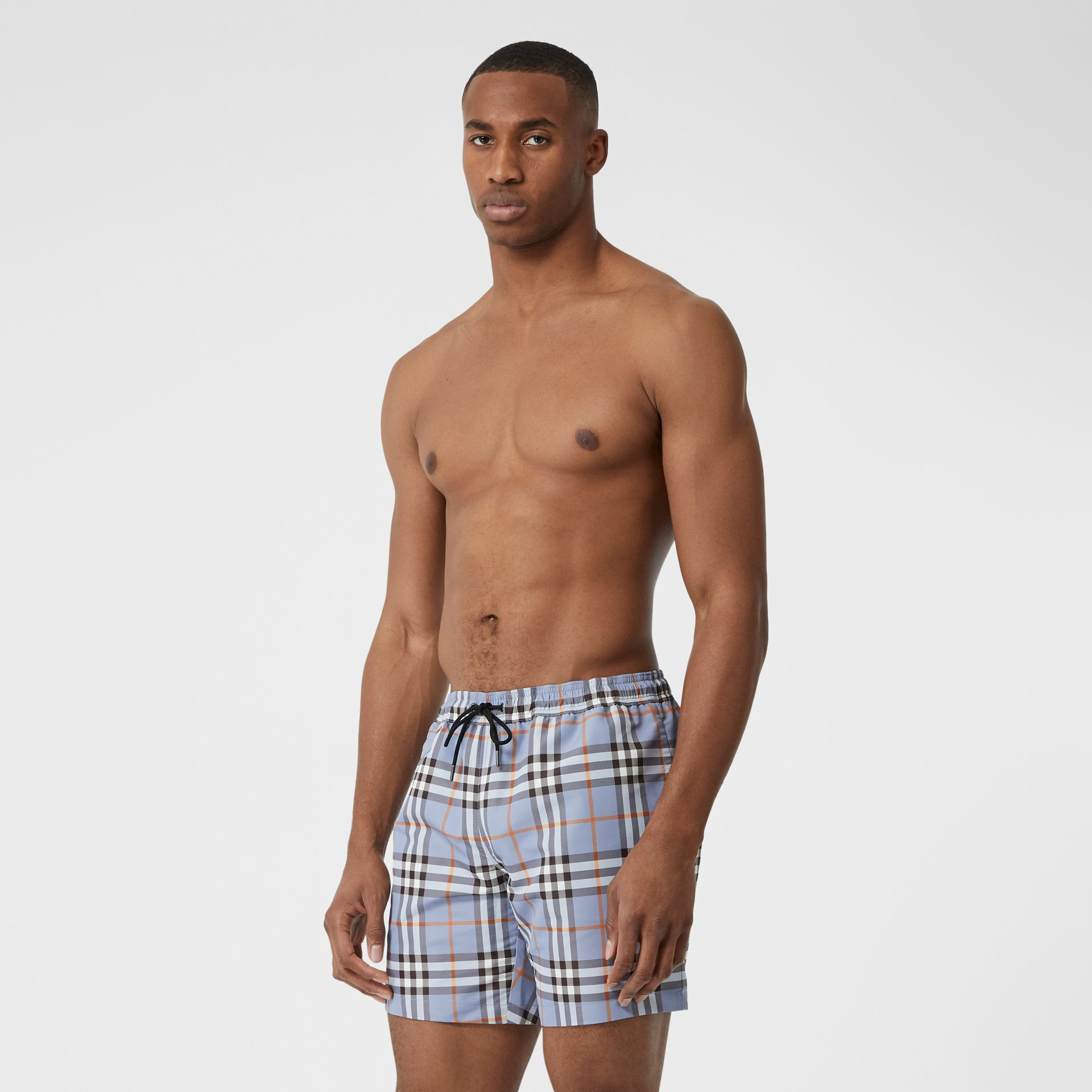 Check Drawcord Swim Shorts in Porcelain Blue - Men | Burberry Australia - gallery image 0