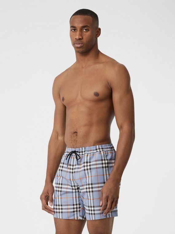 Check Drawcord Swim Shorts in Porcelain Blue