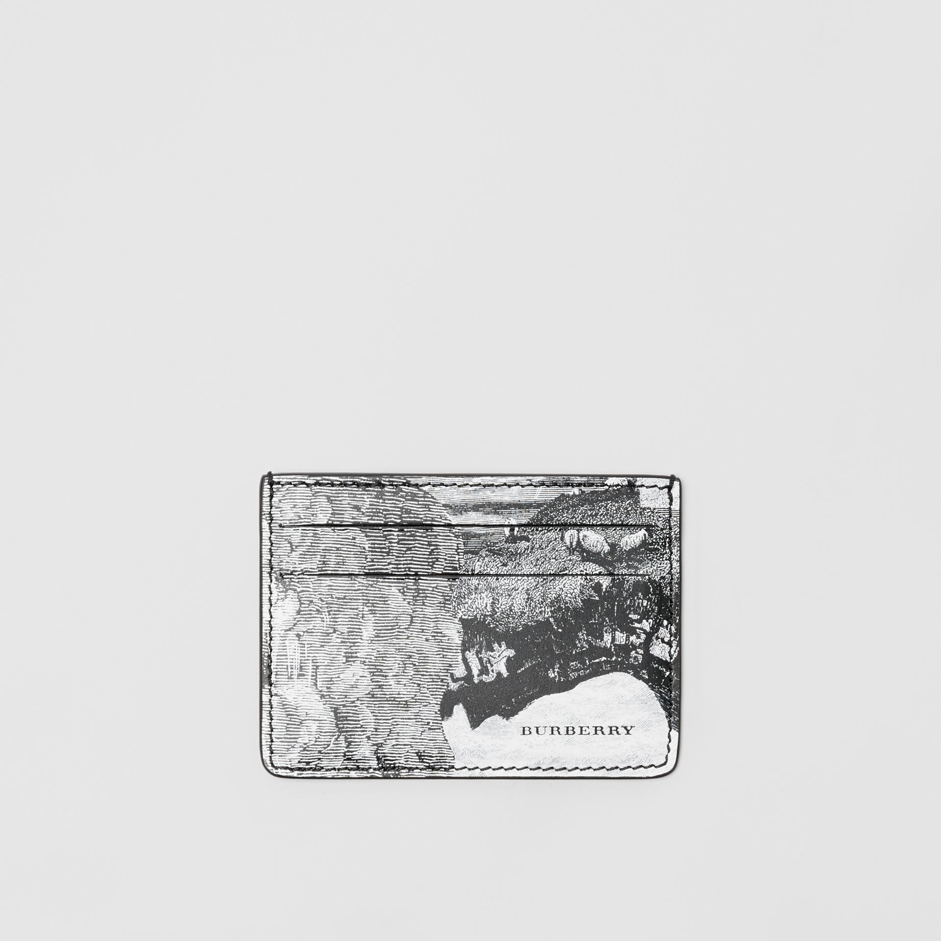Dreamscape Print Leather Card Case in Black/white | Burberry - gallery image 0