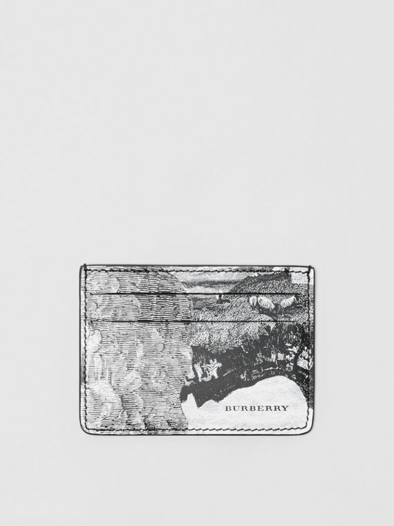 Dreamscape Print Leather Card Case in Black/white