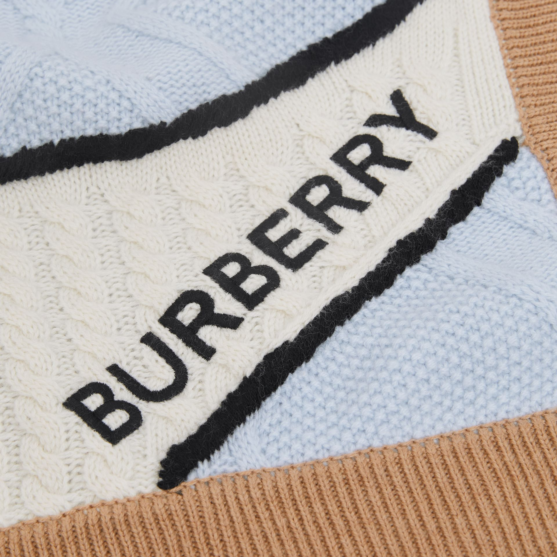 Unicorn Cable Knit Wool Cashmere Baby Blanket in Light Blue - Children | Burberry United States - gallery image 1
