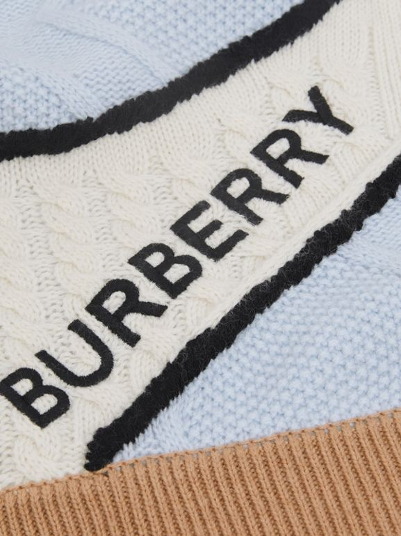 Unicorn Cable Knit Wool Cashmere Baby Blanket in Light Blue - Children | Burberry United States - cell image 1