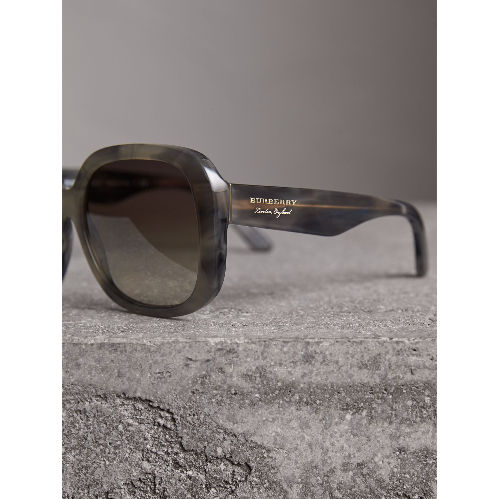 Square Frame Sunglasses in Grey - Women | Burberry United Kingdom - gallery image 2