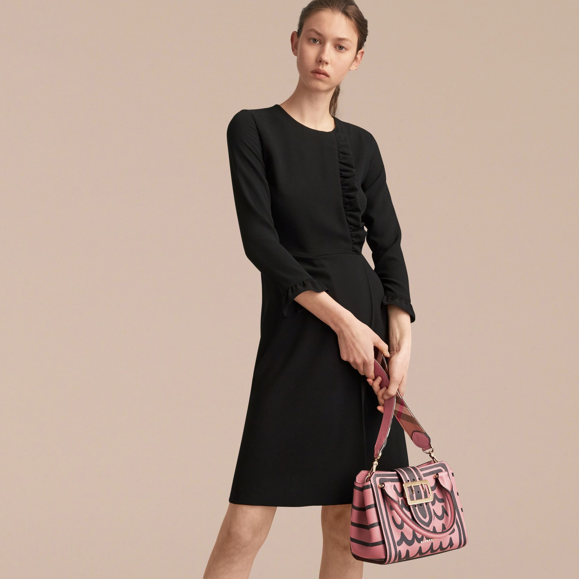 The Small Buckle Tote in Trompe L'oeil Print Leather in Dusty Pink - Women | Burberry - gallery image 9