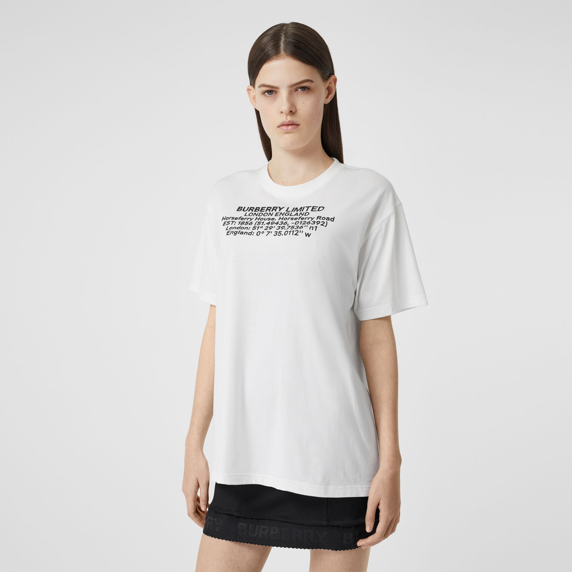 Location Print Cotton Oversized T-shirt in White - Women | Burberry - gallery image 5