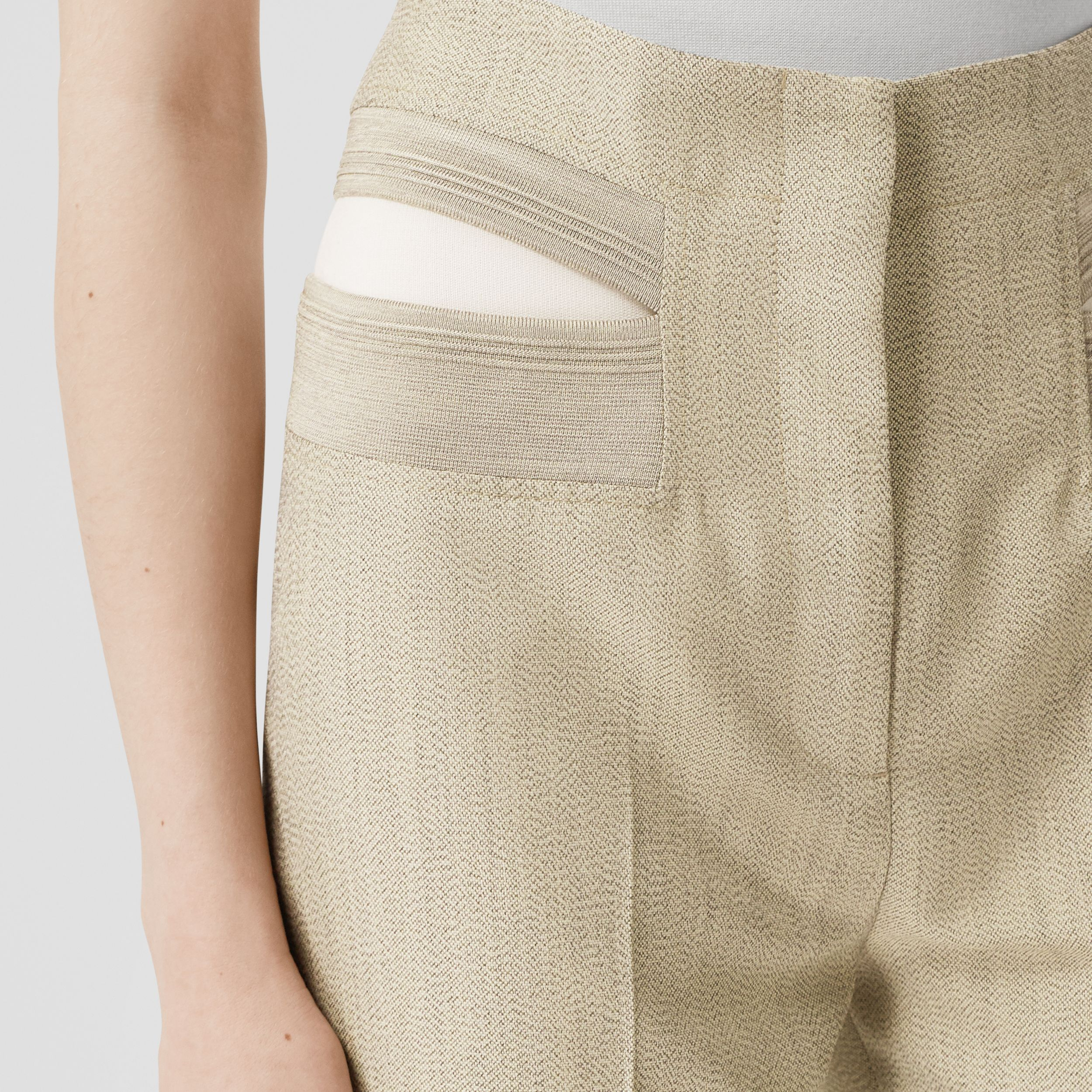 Technical Wool Reconstructed Trousers in Grey - Women | Burberry United Kingdom - 2
