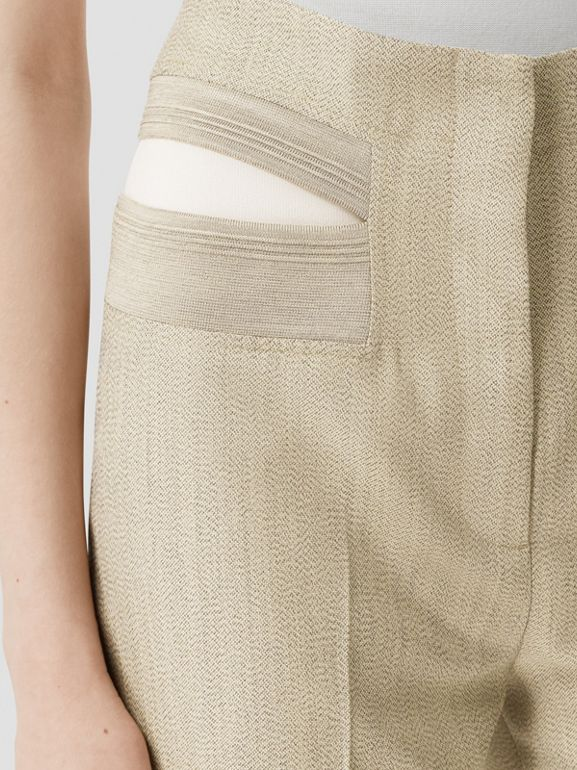 Technical Wool Reconstructed Trousers in Grey - Women | Burberry - cell image 1