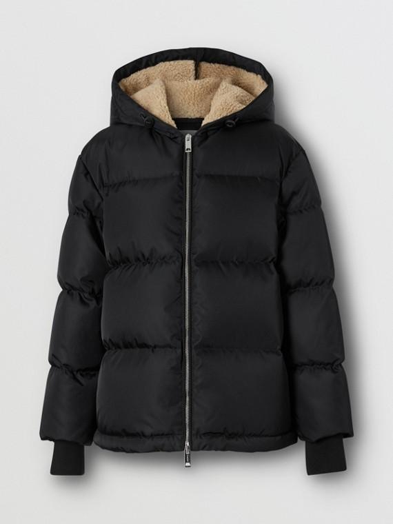 Logo Detail ECONYL® Puffer Jacket in Black