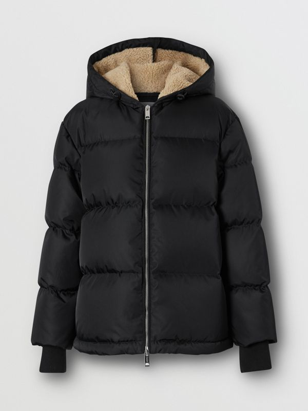 Logo Detail ECONYL® Puffer Jacket in Black - Women | Burberry - cell image 3