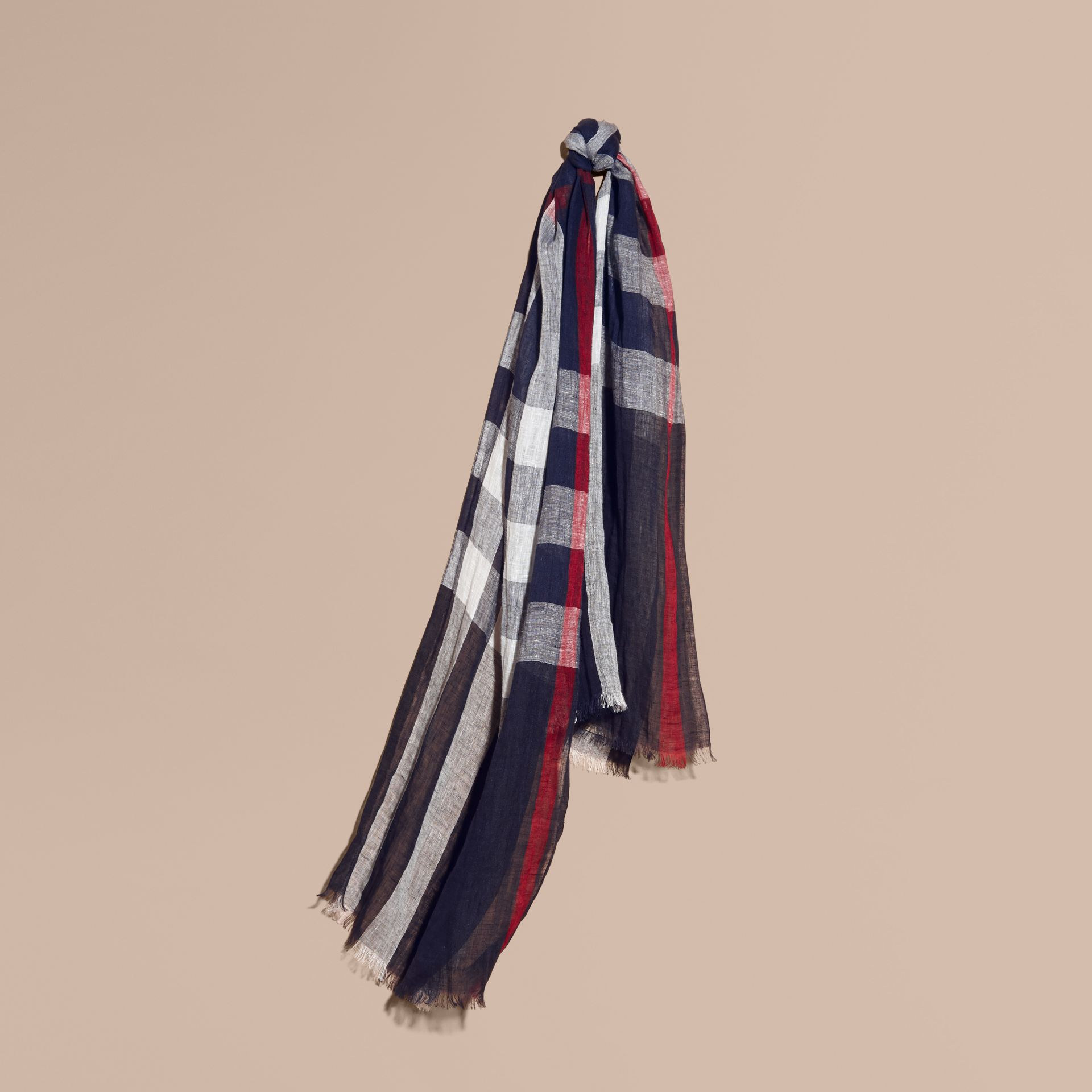 Lightweight Check Linen Scarf in Navy | Burberry - gallery image 1
