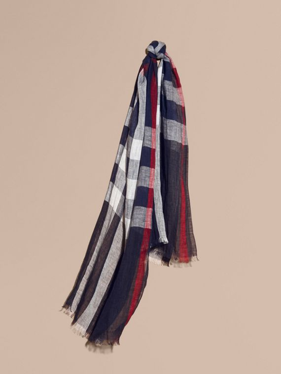 Lightweight Check Linen Scarf in Navy | Burberry