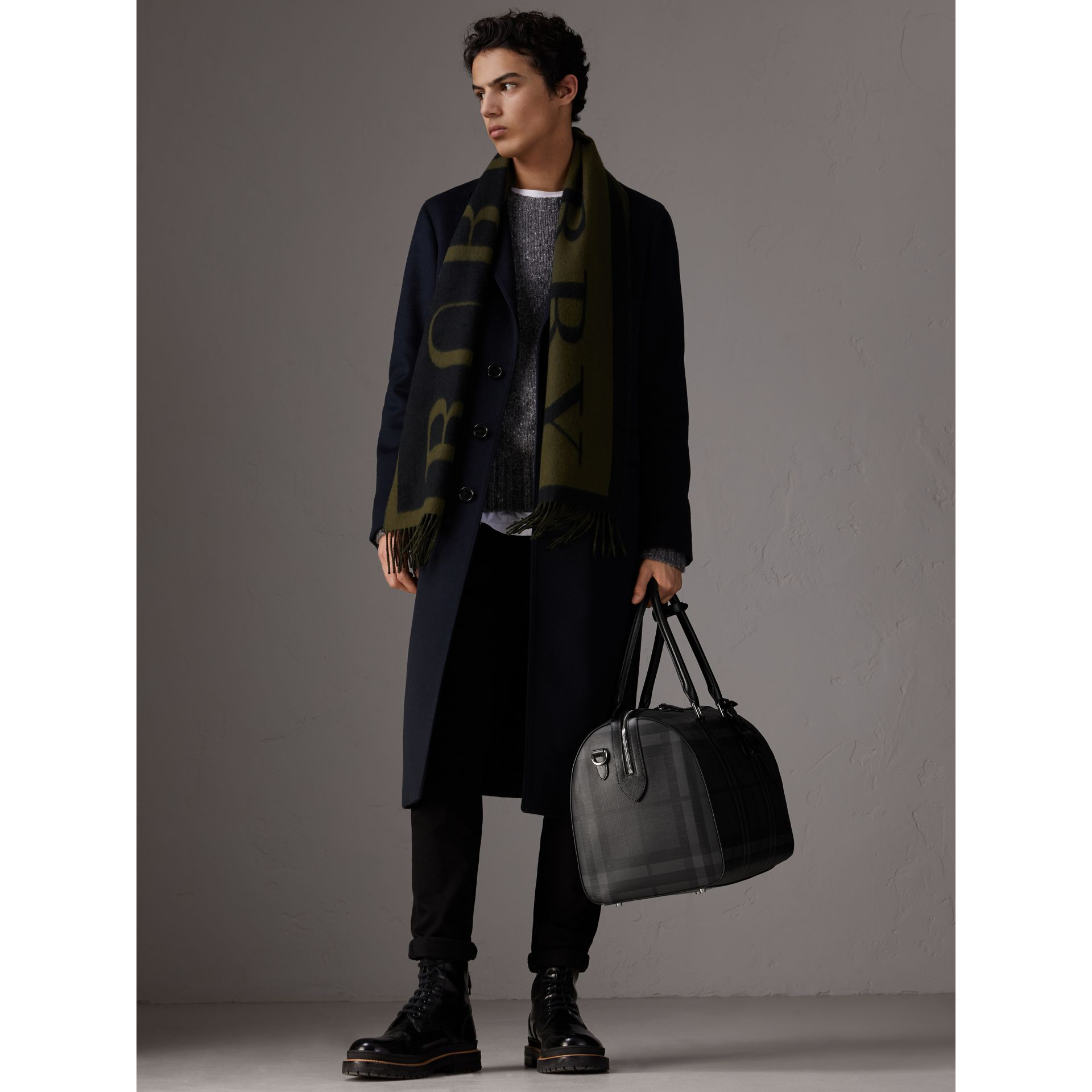 Leather Trim London Check Holdall in Charcoal/black - Men | Burberry - gallery image 2