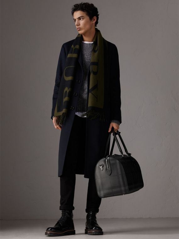 Leather Trim London Check Holdall in Charcoal/black - Men | Burberry - cell image 2