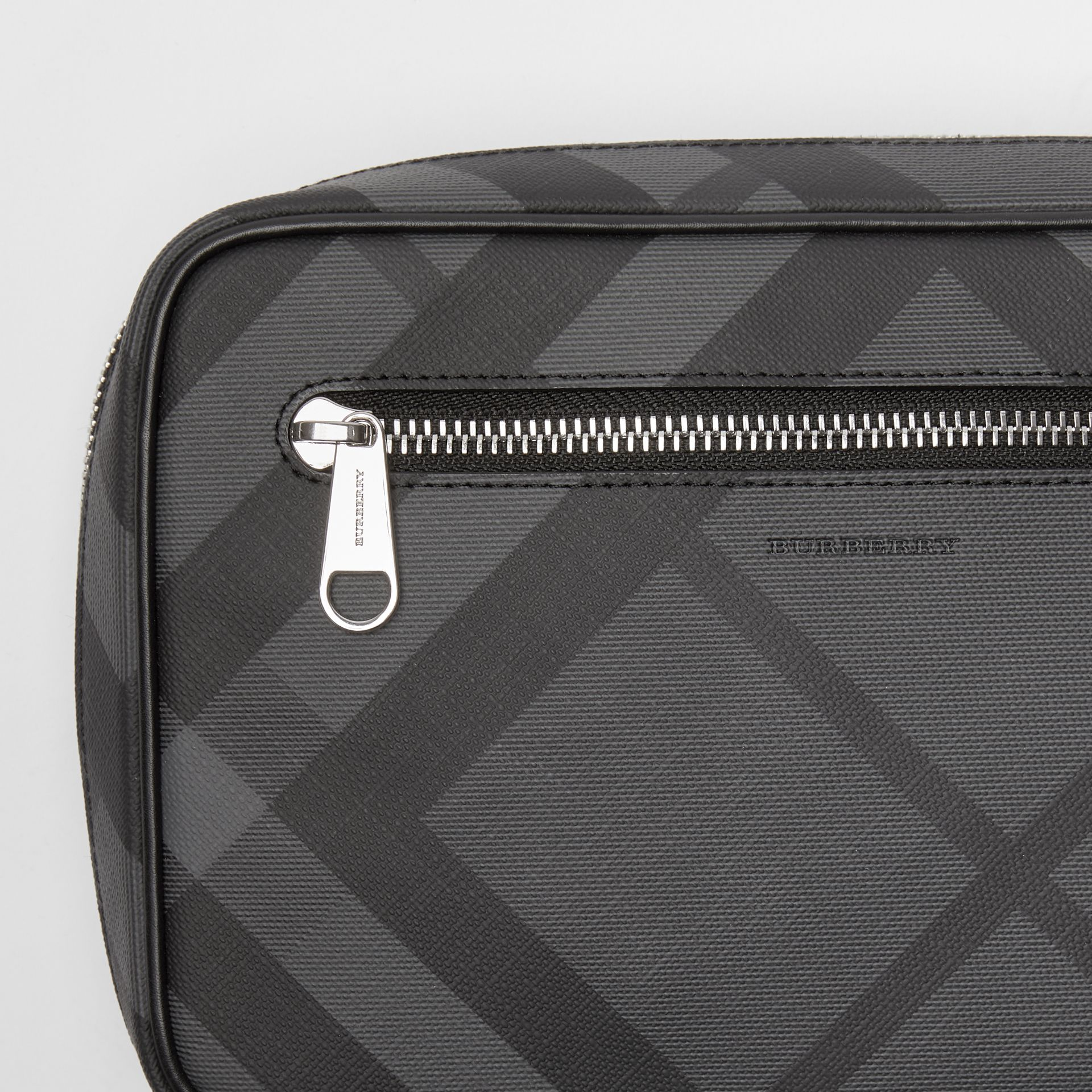 London Check Travel Pouch in Charcoal/black - Men | Burberry Hong Kong - gallery image 1