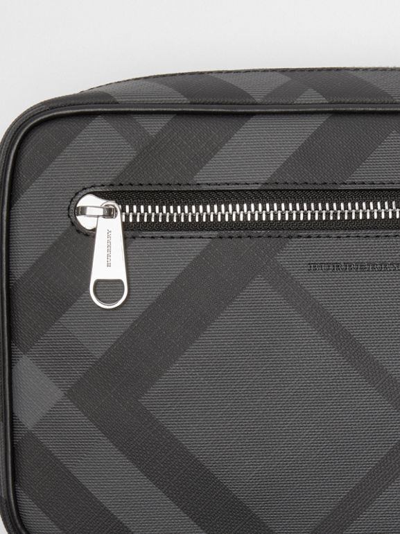 London Check Travel Pouch in Charcoal/black - Men | Burberry - cell image 1