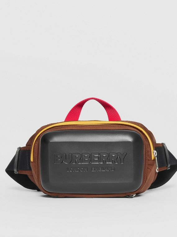 Logo Embossed Panel Nylon Bum Bag in Black