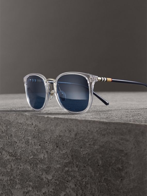 Square Frame Acetate Sunglasses in Crystal - Men | Burberry - cell image 3