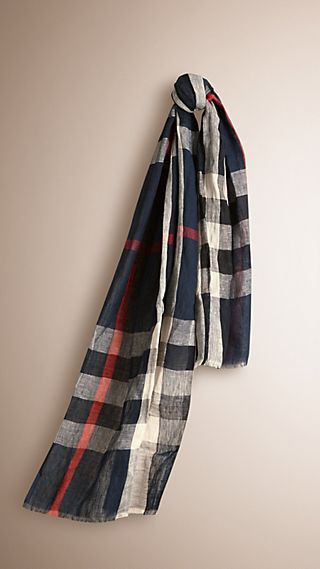 Check Linen Crinkled Scarf
