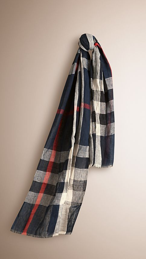 Navy check Check Linen Crinkled Scarf - Image 1