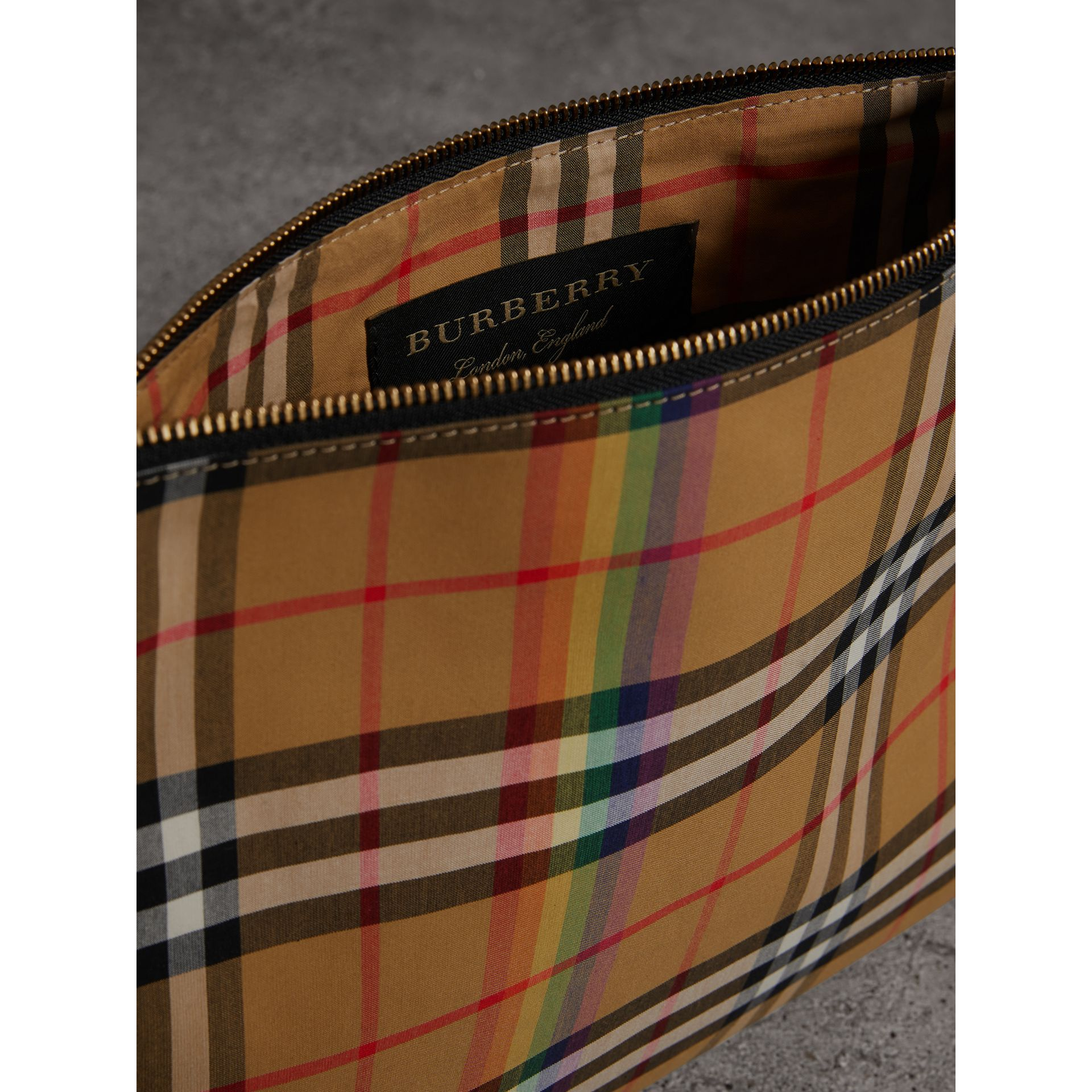 Medium Rainbow Vintage Check Pouch in Natural | Burberry United States - gallery image 7