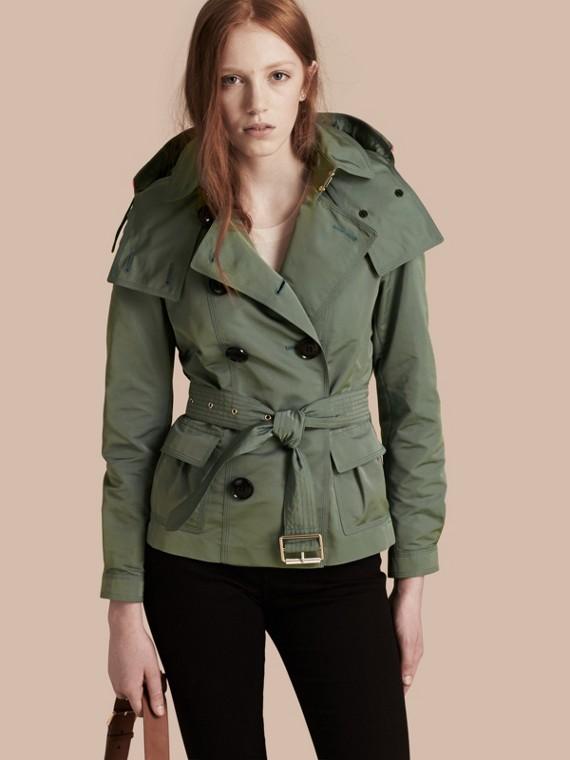 Veste trench en taffetas imperméable avec capuche amovible Vert Eucalyptus