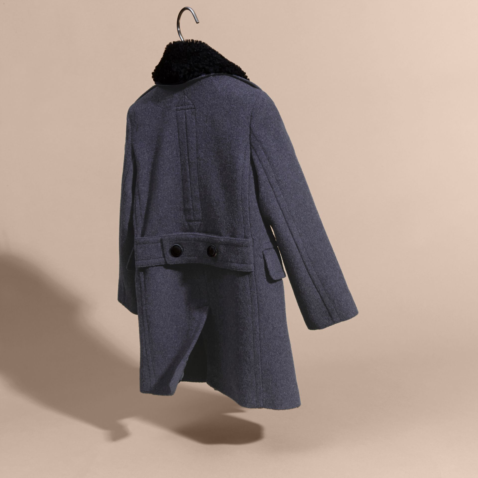 Airforce blue Technical Wool Coat with Detachable Shearling Collar - gallery image 8