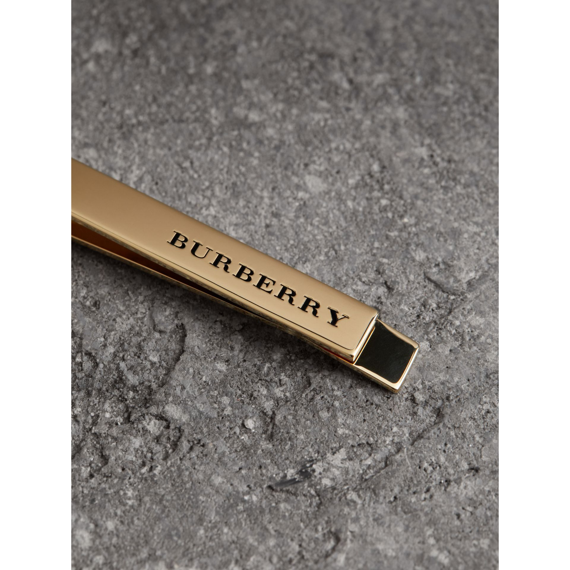 Engraved Bronze Tie Bar in Light Gold - Men | Burberry - gallery image 1