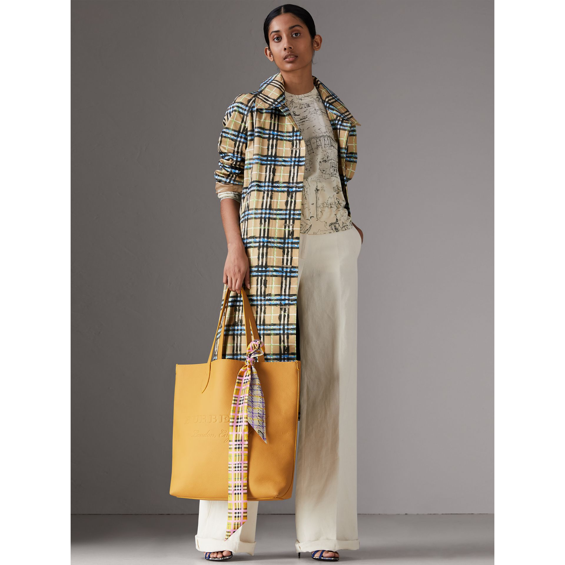Scribble Check Silk Skinny Scarf in Bright Yellow - Women | Burberry - gallery image 2