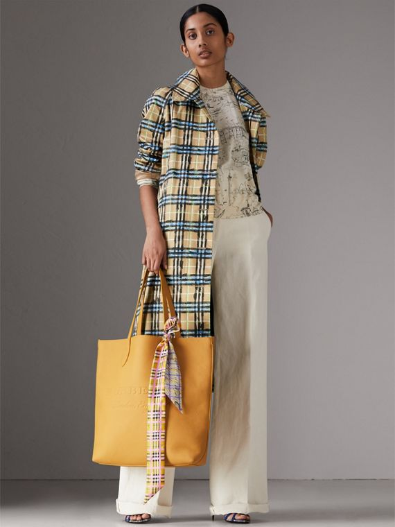 Scribble Check Silk Slim Scarf in Bright Yellow - Women | Burberry - cell image 2