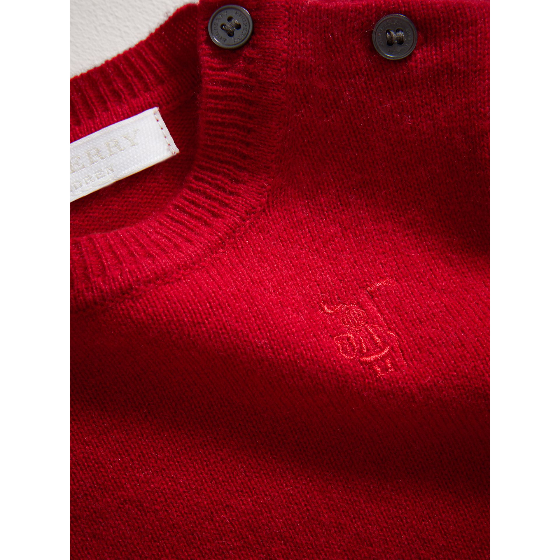 Check Detail Cashmere Sweater in Parade Red | Burberry United Kingdom - gallery image 1