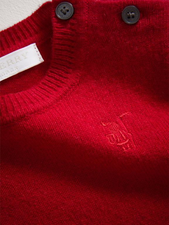 Check Detail Cashmere Sweater in Parade Red | Burberry - cell image 1