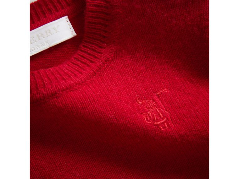 Check Detail Cashmere Sweater in Parade Red | Burberry Australia - cell image 1