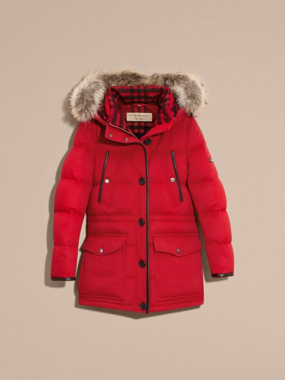 Down-filled Cashmere Coat with Detachable Fur Trim in Parade Red - cell image 3