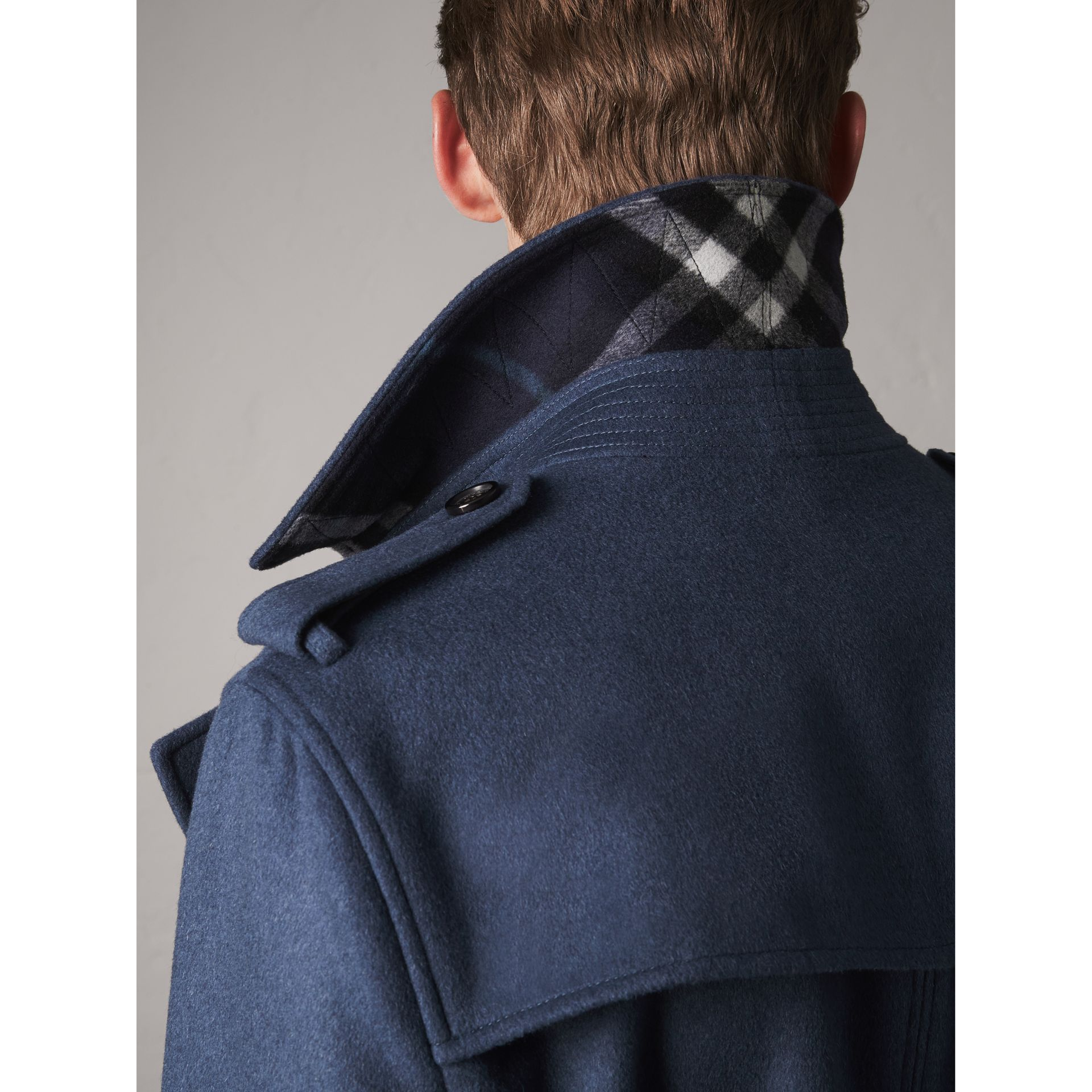Wool Cashmere Trench Coat in Dark Canvas Blue - Men | Burberry - gallery image 4