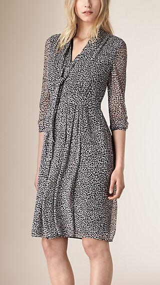 Animal Print Silk Georgette Crepon Dress