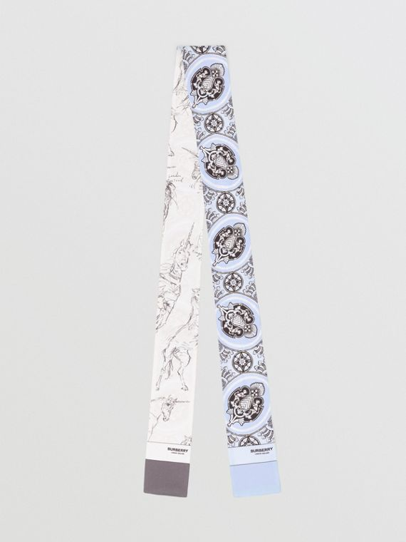 Unicorn Sketch and Antique Print Silk Skinny Scarf in Pale Blue